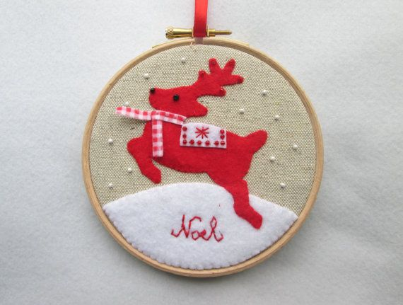Christmas embroidery hoop art Christmas reindeer in by RALOOLAND, $25.00