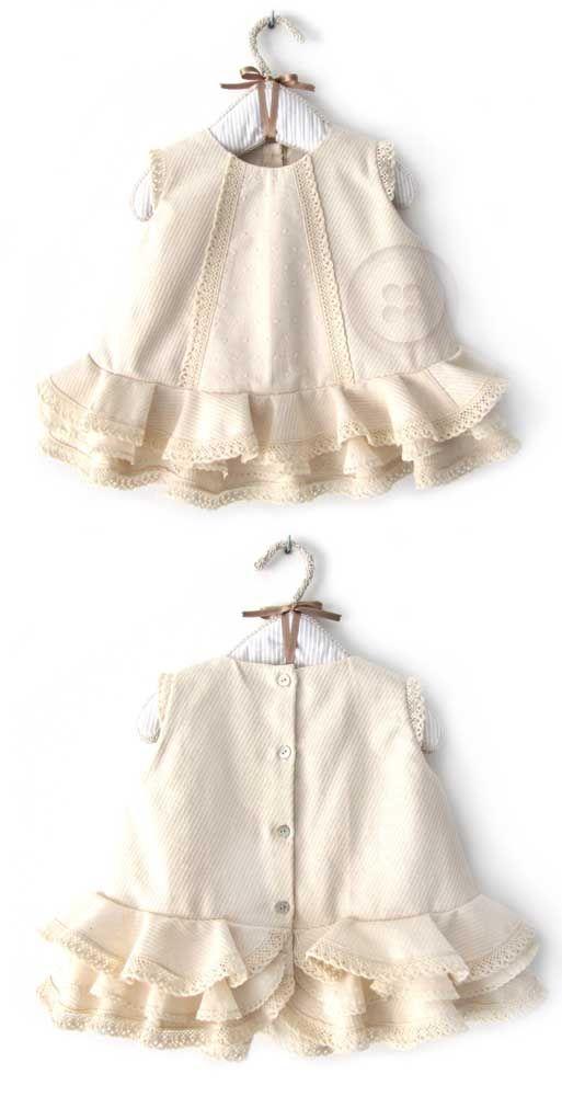 Tutorial que muestra el paso a paso para hacer un vestido de #flamenca de #bebé con cubrepañal #vestidodeflamenca