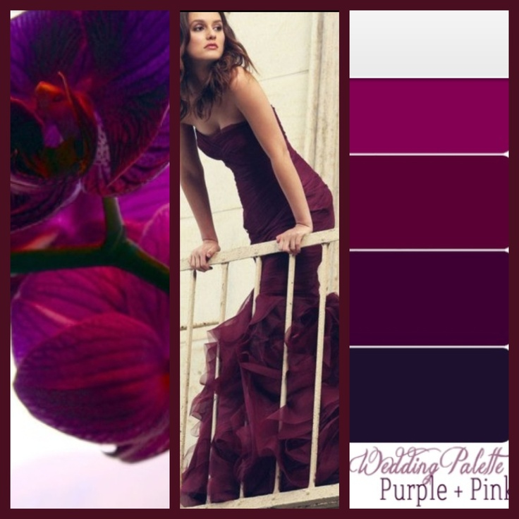 Inspiration for color. Sooo in love with these hues of red, pink, and purple for a formal wedding palette.
