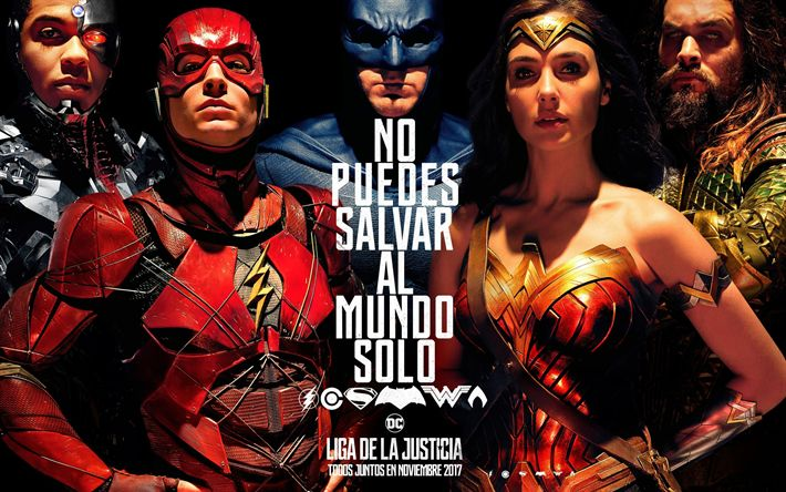 壁紙をダウンロードする Justice League, 2017, ワンダー女性, バットマン, スーパーマン, サイボーグ, Ben Affleck, Gal Gadot