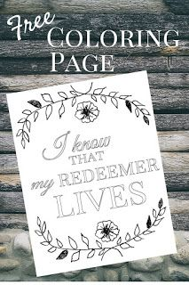 Free Coloring Page: I Know That My Redeemer Lives
