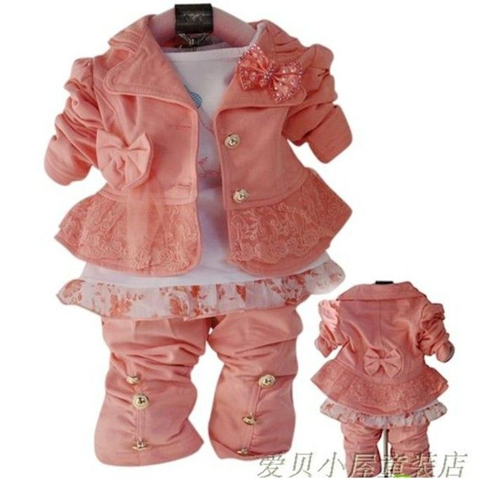 Free shipping 2013 new  children's clothing in the spring and autumn outfit  baby girls bow suit small suit  children clothes $17.48
