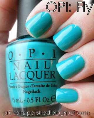 Tiffany Blue :)      OPI fly.  This color is awesome in person, but I can't find it for sale anywhere.