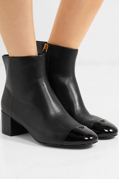 21ce0c41581c TORY BURCH Shelby classy patent-trimmed leather ankle boots