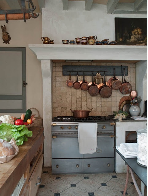 french country kitchen with copper pots (via My French Country Home, French Living - Sharon Santoni)