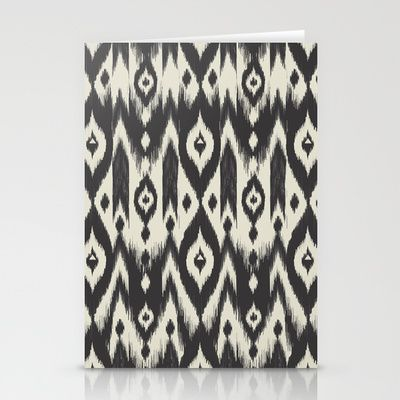 Black & Cream Tribal Ikat Stationery Cards - Bohemian Gypsy Jane