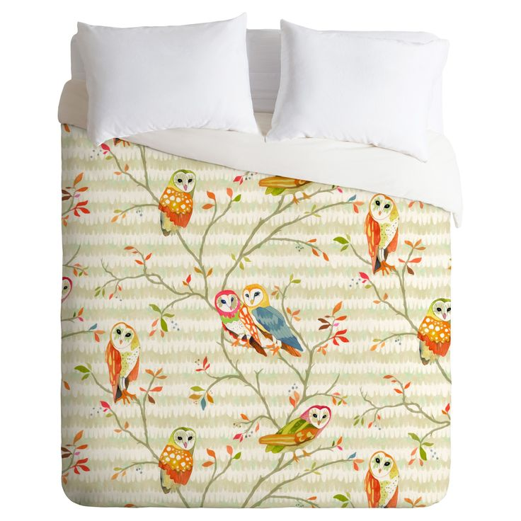 Beige Betsy Olmsted Owl Tree Duvet Cover Set (Queen) - Deny Designs