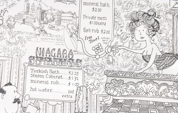 Saucy vintage 1970s vinyl wallpaper with a slightly risque Victorian bathroom/spa/bathtub brothel novelty print cartoon. The wallpaper has illustrations of men and women in old fashioned bath tubs, with signs advertising the types of services available. Although there is nothing