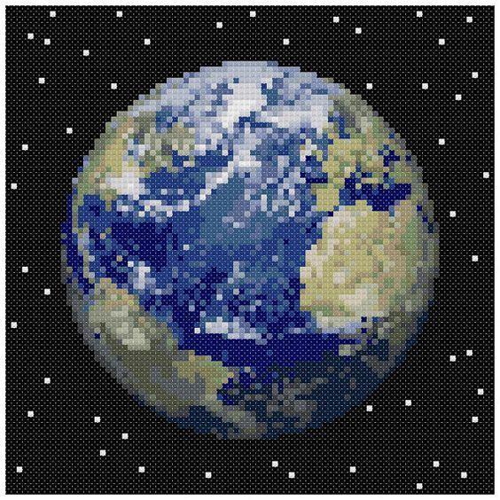 PDF+Cross+Stitch+pattern++0053.Earth+planet++INSTANT+von+PIXcross
