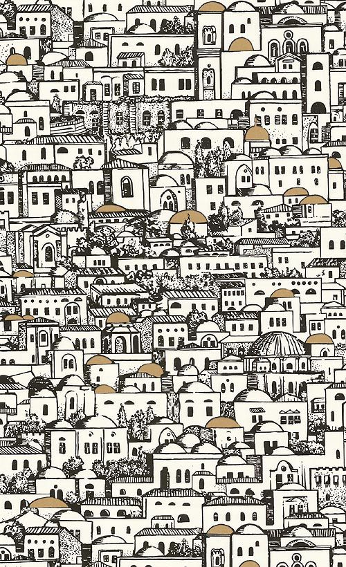Mediterranea Wallpaper A Fornasetti wallpaper depicting villas in black and white with occasional gilded dome roofs
