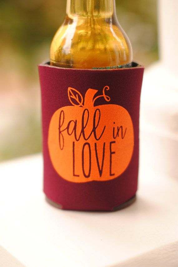 Personalized Fall In Love Rustic Wedding FavorsWedding Can Coolers Custom Beverage Insulators Beer Huggers Favor