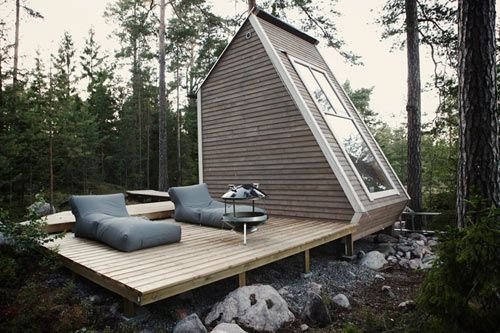 Micro Cabin in Finland \\\ A DIY project with a tight budget and using mostly recycled materials, this tiny cabin was designed for use after serving in the military and the owner/designer managed to stick to Finland's strict codes for small houses and cabins. A brilliant use of 146-square-feet of space, don't you think?