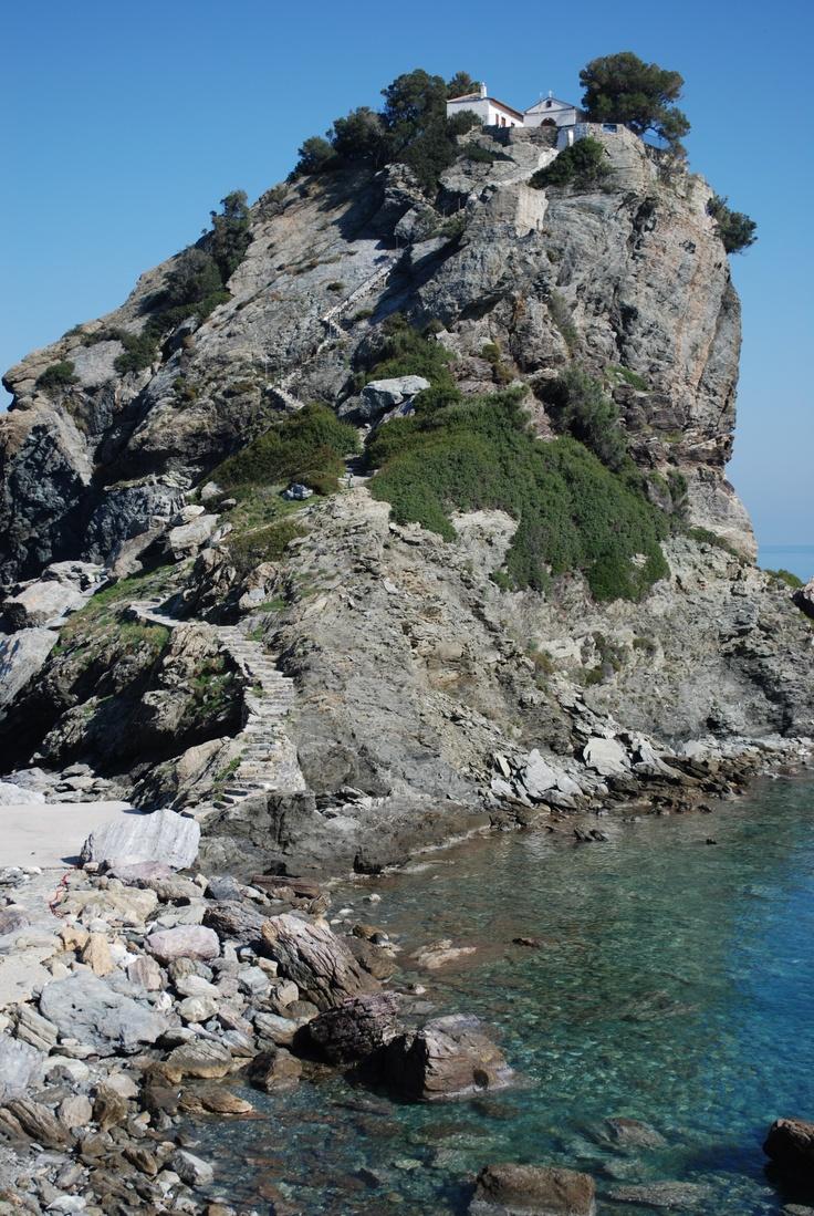 Agios Ioannis Kastri on Skopelos, Greece  - church used in Mamma Mia.