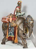 Rey Baltasar sobre elefante, pieza siciliana de Elisa Messina.