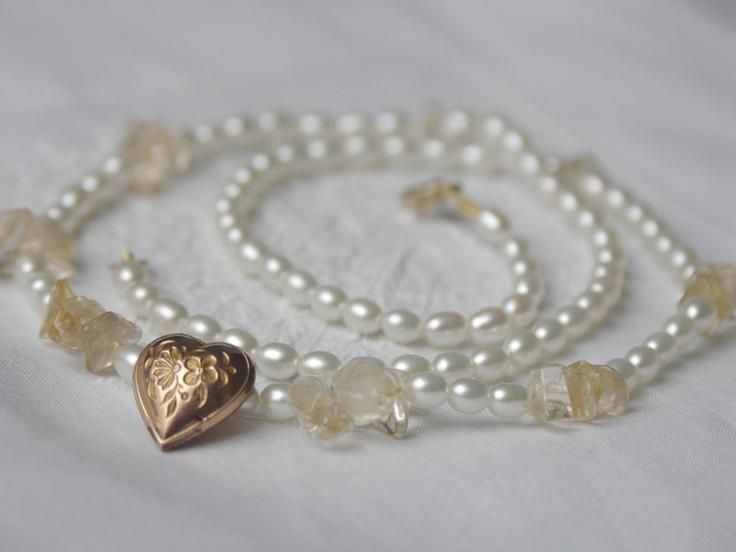 Perlenkette Herz Jugendstil doublé Citrin