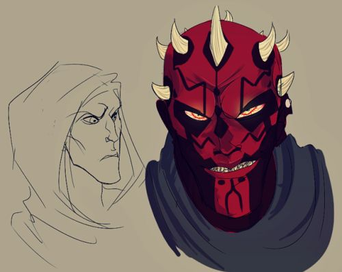 Maul doodles done. Have a wicked smile and a confused face :'D