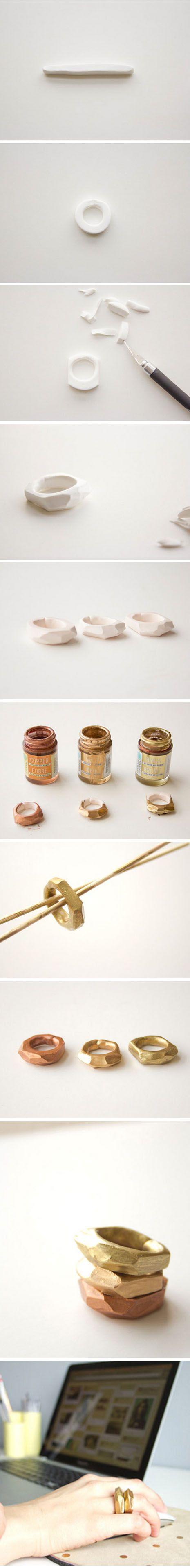#handmadering geometric polymer clay ring - Anello geometrico in argilla polimerica