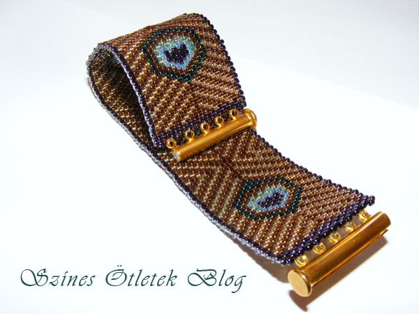 Peyote bracelet with a peacock pattern