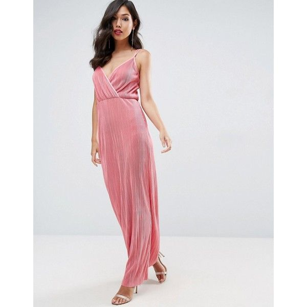 ASOS Plisse Wrap Maxi Dress (€28) ❤ liked on Polyvore featuring dresses, pink, strap prom dresses, wrap dresses, plunge neck maxi dress, wrap maxi dress and plunging neckline maxi dress