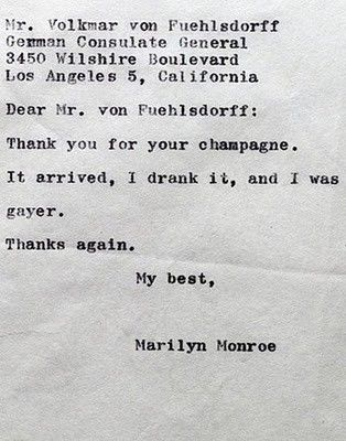 Marylin Monroe Champagne letter