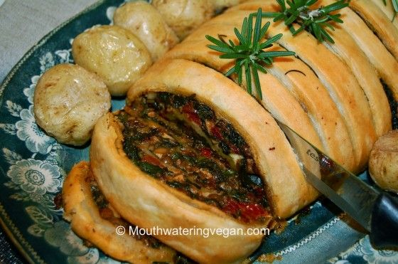 Lentil, Mushroom, Spinach & Spicy Nut Roulade (Your Perfect Sunday Roast). Recipe from http://mouthwateringvegan.com/2012/12/07/lentil-mushroom-spinach-spicy-nut-roulade-your-perfect-sunday-roast/.