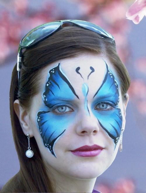 carnaval: Blue Butterflies, Faces Art, Butterflies Faces, Paintings Ideas, Faces Paintings, Body Paintings, Body Art, Butterflies Facepaint, Bodyart