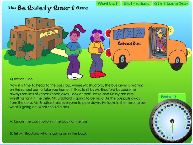 Be Safety Smart! Create your own characters and answer questions about transportation safety. Developed for grades K-2 (with a guide) and 3–5, this simulation helps students understand safe behavior on buses, bikes, skateboards, and passenger cars. Players receive points for correct answers. Great as part of a classroom lesson or a summer review at home!