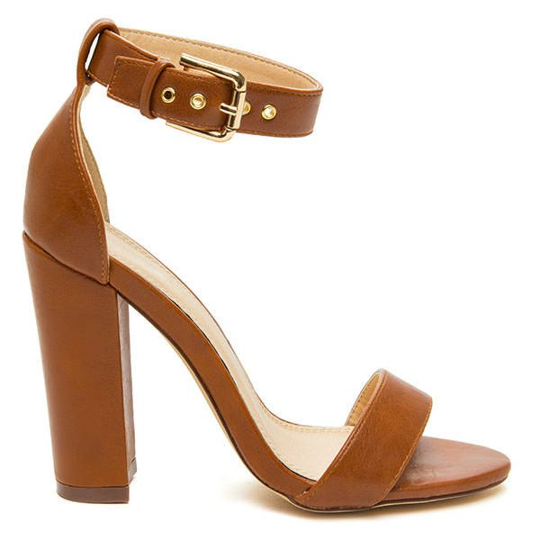 Thick Of The Action Chunky Heels COGNAC ($25) ❤ liked on Polyvore featuring shoes, pumps, brown, cognac brown shoes, thick heel shoes, cognac pumps, thick-heel pumps and wide heel pumps