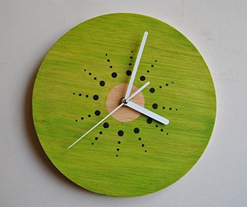 Reloj de pared de Kiwi. Madera contrachapada. Pintado a mano. Silencioso.