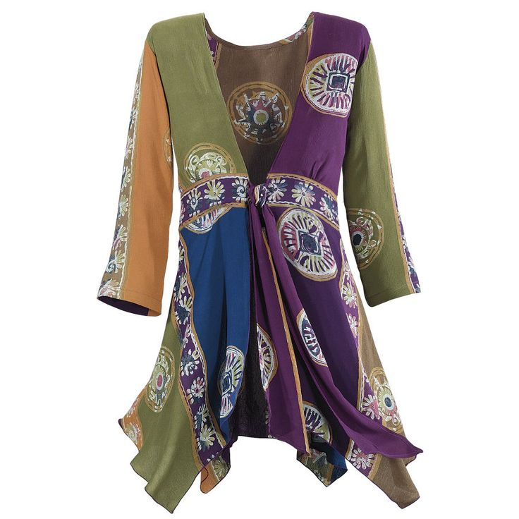 The deep colors of Bali and Java lend an air of repose to this soft, exotic, tunic-length top in a handkerchief-hemmed design that ties in the front. Beautiful!