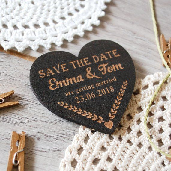 Wood Save The Date Magnet Heart