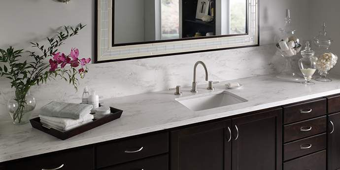 Rain Cloud Corian Bathroom Idea I Love The Dark Cabinetry With The Bright White Countertop