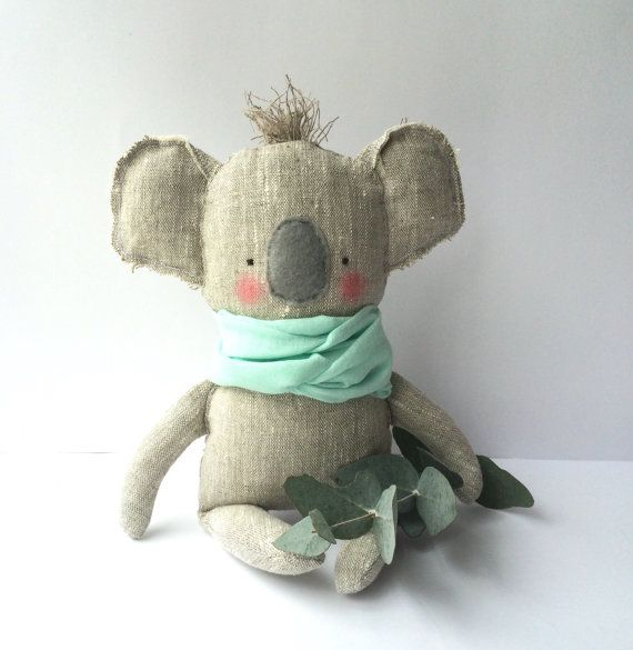 Koala toy, baby toy Koala made of linen fabric by my unique sewing pattern. Plush Koala does not have any sharp, hard, small or plastic details
