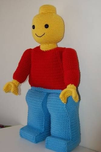Giant crocheted lego man! Amazing! By amydice on Craftster. I MUST find a way to make one for my son and nephew!!!