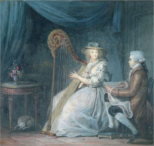 The Beautiful Harpist - Jean Baptiste Mallet