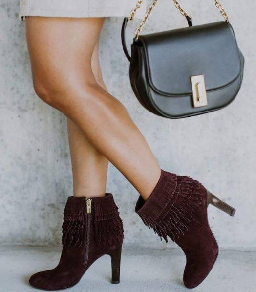 LAYTON in Bordo Suede. An ankle bootie with layered fringe that makes a  statement.