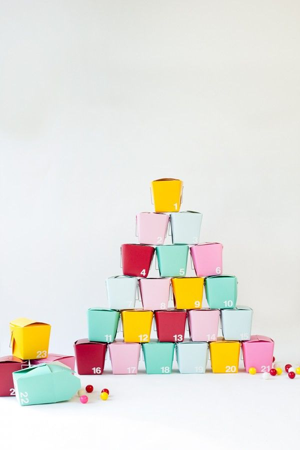 DIY Take-Out Box Advent Calendar Advent calendars, Box and