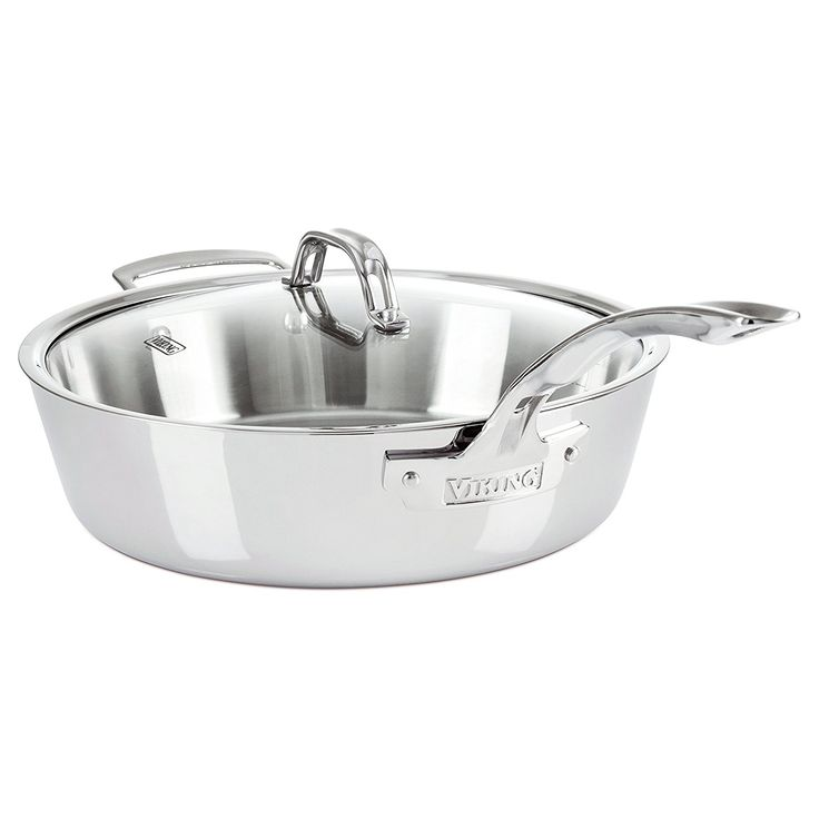 Viking Contemporary Saute Pan Mirror Finish with Lid, 4.8 quart, Silver *** See this great product.