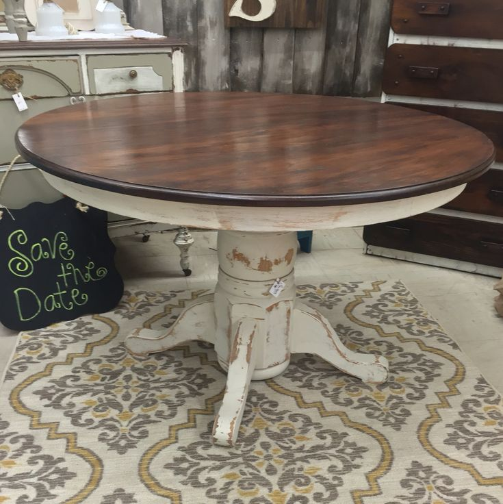 Kitchen Table Painted With #dixiebellepaint And #generalfinish  #javagelstain Top