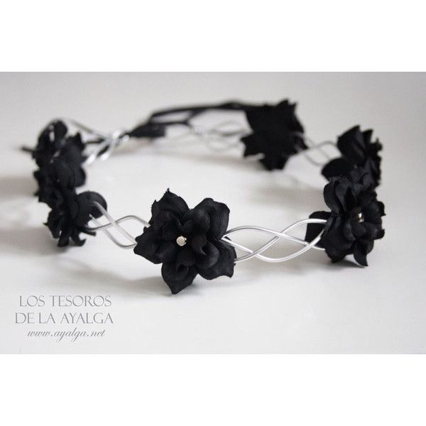 Floral Crown Flower Circlet Gothic Crown (36 CAD) ❤ liked on Polyvore featuring accessories, hair accessories, flower crowns, hats, grey, flower crown, lace hair accessories, floral garland, flower garland and goth hair accessories