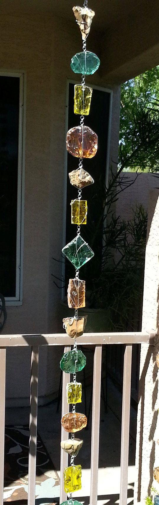 Hey, I found this really awesome Etsy listing at https://www.etsy.com/listing/226342172/glass-rain-chain-peach-green-and-yellow