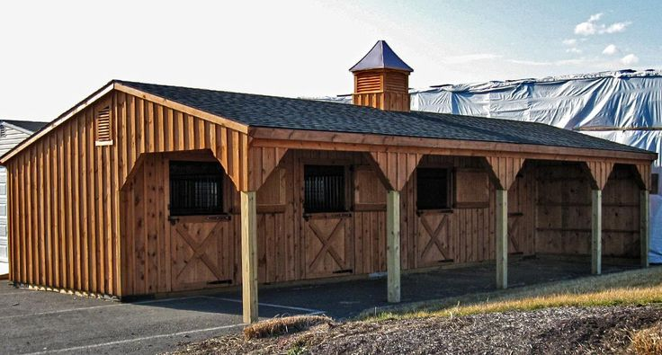 12x42 shedrow horse barn includes 3 12x12 stalls and for Tack shed plans