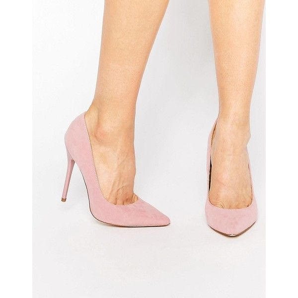Public Desire Josie Pink Court Shoes (£25) ❤ liked on Polyvore featuring shoes, pumps, pink, slip on shoes, heels stilettos, pointed toe stiletto pumps, pink shoes and pointy toe stilettos