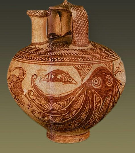 minoan pottery information about the minoan 1500-1450 bce the octopus flask is an example of minoan new palace period pottery made to celebrate the sea, this kamares ware jug is covered in decoration of marine lifethe jug is round.