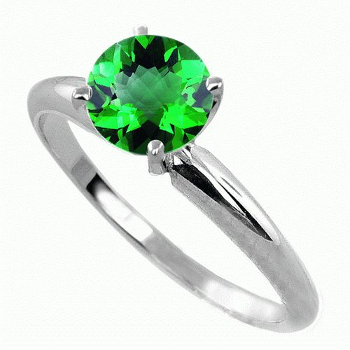 #6006 0.5 Ct. Chrome Diopside Ring in 14k White Gold