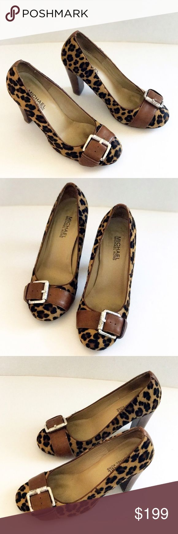 Michael Kors calf hair leopard print pumps Micheal Kors calf hair leopard print heels with front buckle embellishment and thick heels. Calf hair feels awesome and looks amazing! Leather upper and outsold. Size 5.5 Michael Kors Shoes Heels