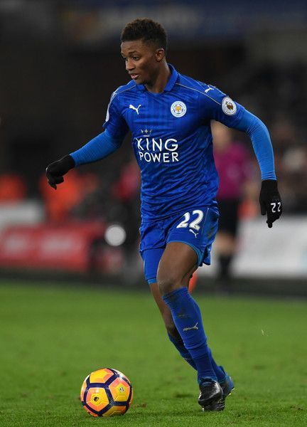Leicester player Demarai Gray in action during the Premier League match between Swansea City and Leicester City at Liberty Stadium on February 12, 2017 in Swansea, Wales.