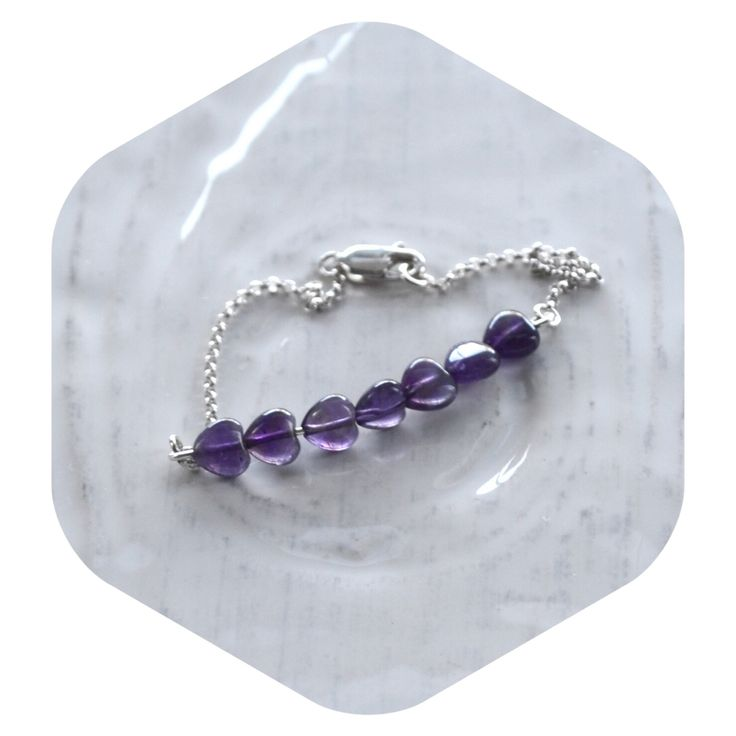 Amethyst Heart Chain Bracelet