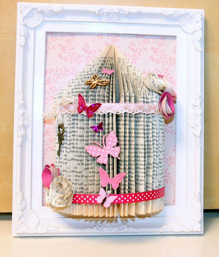 Unusual handmade gift personalised bird cage book fold art framed 10 x 8 (24)