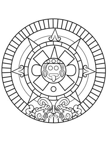 Piedra del Sol Azteca Dibujo para colorear
